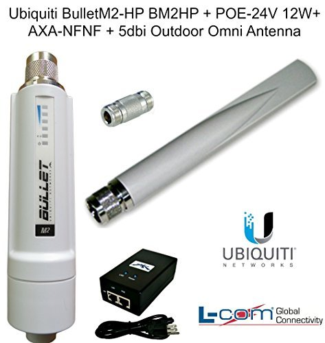 Ubiquiti BulletM2-HP BM2HP + POE-24V 12W + AXA-NFNF + 5dbi Outdoor Omni Antenna by Ubiquiti Networks