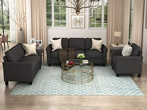 Harper & Bright Designs 3 Piece sectional Sofa, Fabric Living Room Sofa Sets, Living Room Furniture Sets Include Armchair Loveseat Couch,Black