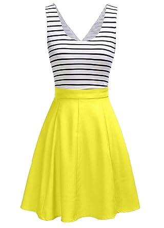 U8Vision Damen V-Ausschnitt Rückenfrei Gestreiftes Strickkleid Rock Kleider  Casual Kleider Gelb Gr.S