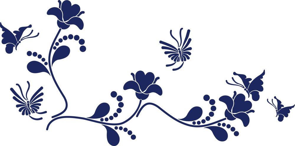 GRAZDesign Wall Tattoo Blaumen - Wanddekoration Wandtattoo Ornament - Wanddeko Wanddeko Wanddeko Wandtattoo Blaumenranke - Wandtattoo Schmetterling   101x50cm   azurblau   850109_50_052 B07FGD4K7Q Wandtattoos & Wandbilder 0bf156