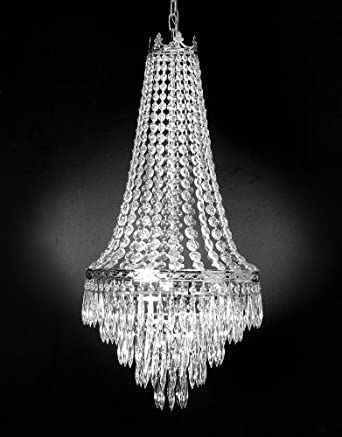 French Empire Crystal Chandelier Chandeliers Lighting, SILVER, H30 X ...