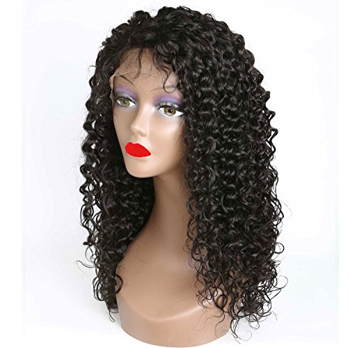 Weave Master Curly Lace Front Human Hair 130% Density Brazilian Remy Wigs with Baby Hair For African Americans Natural Color (16inch) by weave master (Image #5)