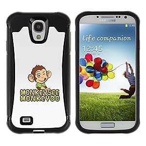iKiki Tech / Estuche rígido - Monkey See Do Happy Grey Cute Drawing - Samsung Galaxy S4 I9500