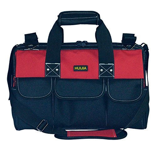 HUIJIA Heavy Duty Collapsible Tool Storage Bag with 5 Wear Resistant Rubber Base and Adjustable Strap, Black and Red (M:11.5''X10''X7'') by HUIJIA