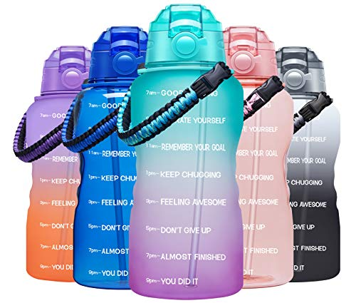 Fidus Large Half Gallon/64OZ Motivational Water Bottle with Paracord Handle & Removable Straw - BPA Free Leakproof Water Jug with Time Marker to Ensure You Drink Enough Water Daily-Green/Purple