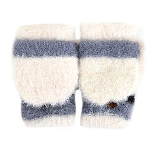 CLARA Women Cute Plush Faux Fur Mittens Half Finger Gloves Flip Top Convertible Mitts White ()