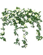 JUSTOYOU 2 Pack 7.2ft Artificial Fake Rose Garland Vines Hanging Silk Flowers for Outdoor Indoor Wedding Wall Badroom Decoration (White)