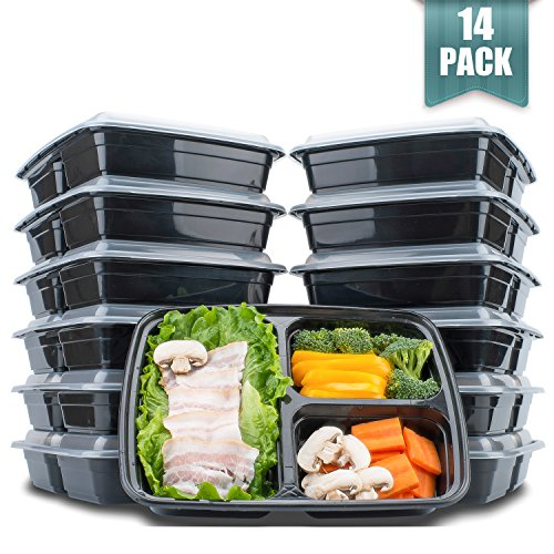 3 Compartment Meal Prep Food Storage Containers With Lids,38oz BPA Free Stackable & Divided Lunch Containers,Thicker Than Other Bento Boxes, Microwave/Dishwasher/Freezer Safe,14 Pack by (Achieve Stackable)