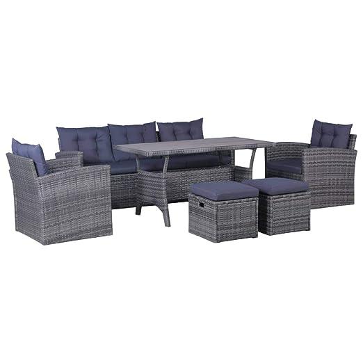 vidaXL - Muebles de jardín con Cojines (6 Piezas) Conjunto de ...