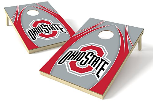 NCAA College Ohio State Buckeyes 2x3 Wood Tailgate Toss Platinum College V Logo Game, Multicolor, 24x36'' by Wild Sports