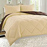 Dayton Down Alternative 3-Piece Reversible Comforter Set Soft Brushed Microfiber Quilted Bed Cover All Sizes (Twin, Taupe & Brown)