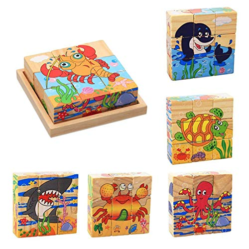 ZDYWY 9 Piece Wooden Jigsaw Blocks 3D Cube Puzzle Toy Octopus Dolphin Tortoise Crab Lobster Shark