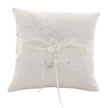 Amazon.com: guihe flor perla marfil de satén de encaje ...