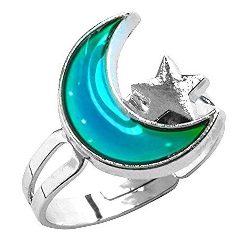 Jiali Q 6pcs Mood Ring Change Color Ring Adjustable Size Temperature Finger Ring -
