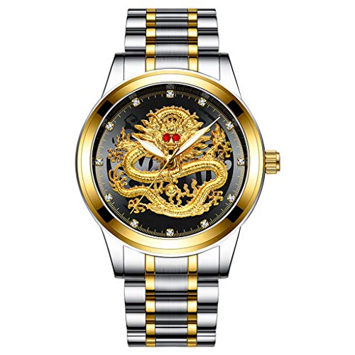 Sodoop Wrist Watches for Mens 30M Waterproof Luxury Golden Analog Quartz China Diamond Dragon Face Pattern Dial Watch, with Stainless Steel Strap Wristwatch (G)