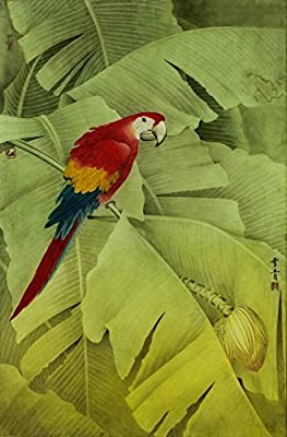 Parrot in Basho Woods Oil Painting Reprodution. Based on Famous Traditional Chinese Realistic Painting. (Unframed and Unstretched).