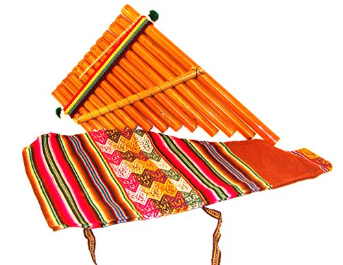 Flutes Reed - Pan Flute Reed zampona panpipe, 'Andean Panpipe' Fair Trade with Hand Made Bag Peru *638*