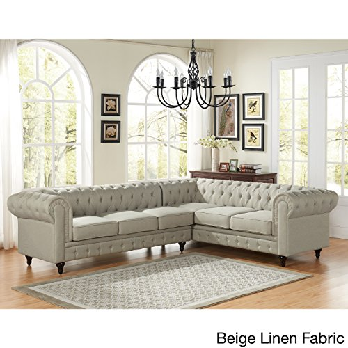 US Pride Furniture Sophia Modern Style Tufted Rolled Arm Left Facing Chaise Sectional Sofa Beige