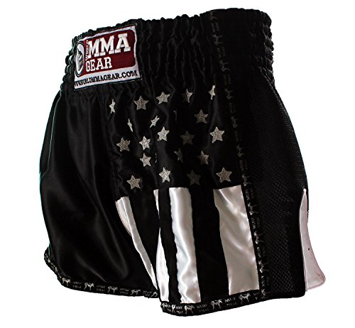 World MMA Gear Black Muay Thai Shorts Handmade Retro Design Thai Boxing Shorts for Men with US Flag Decoration