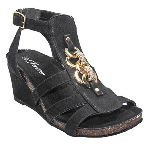sandals 7 Womens Black Yoli Forever US M wedges D 41 q7wXx1R