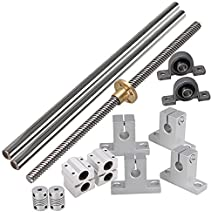 BQLZR Horizontal Linear 200mm Optical Axis & 8mm Lead Rod with Nuts Dual Rail Support CNC Bearing Block & Stepper Coupler Support Set