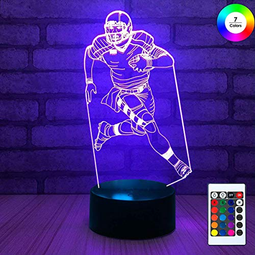 Acrylic Player Night Light - 3D Remote Night Stand Light, EpicGadget Optical Illusion Visualization LED Night Light Lamp 7 Colors Changing Remote Control Night Light Lamp Stand (Football Player)