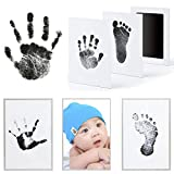 Mcree 3 Pcs Baby Ink Pad for Baby Footprints Hand Prints and Fingerprints Kit with 3 Extra Large Ink Pads and 6 Imprint Cards Perfect Keep Baby Memory Baby Shower Gift (Black)