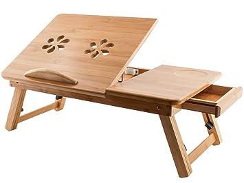 Mesa de bambú de altura ajustable, portátil y plegable para el ordenador portátil, mesa para la cama con cajón. Grado A. Buena relación calidad precio.