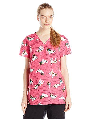 - 24|7 Comfort Scrubs Women's V Neck Top, Polka Dot Dog, Large
