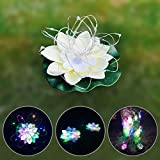 Yobooom Floating Lotus Led String Lights Artificial White Foam Flowers Colorful Waterproof Pond Decration Pool Decor Firefly Trendy Fancy Lotus light - SET of 6 - Party Wedding Holiday Decorations