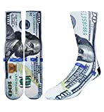 Zmart Men's Crazy Fun Money Print Color Athletic Sports Mismatch Crew Cotton Socks