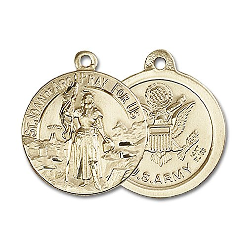 14kt Yellow Gold St. Joan of Arc Medal 7/8 x 3/4 inches by Bonyak Jewelry Saint Medal Collection