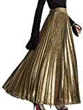 PERSUN Women's Long Tulle Skirts Casual Pleated Chiffon A-Line Maxi Skirt (X-Large, Sparkling-Gold)