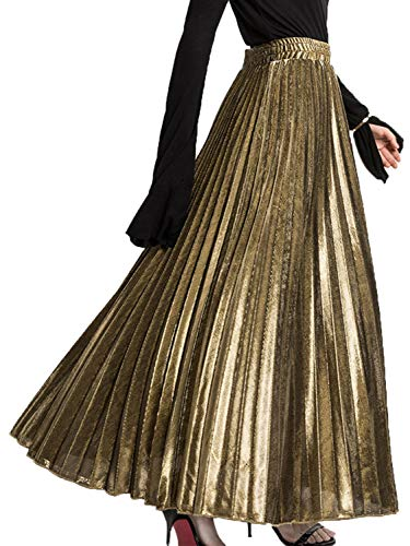 A-line Sequin - PERSUN Women's Long Tulle Skirts Casual Pleated Chiffon A-Line Maxi Skirt (XX-Large, Sparkling-Gold)