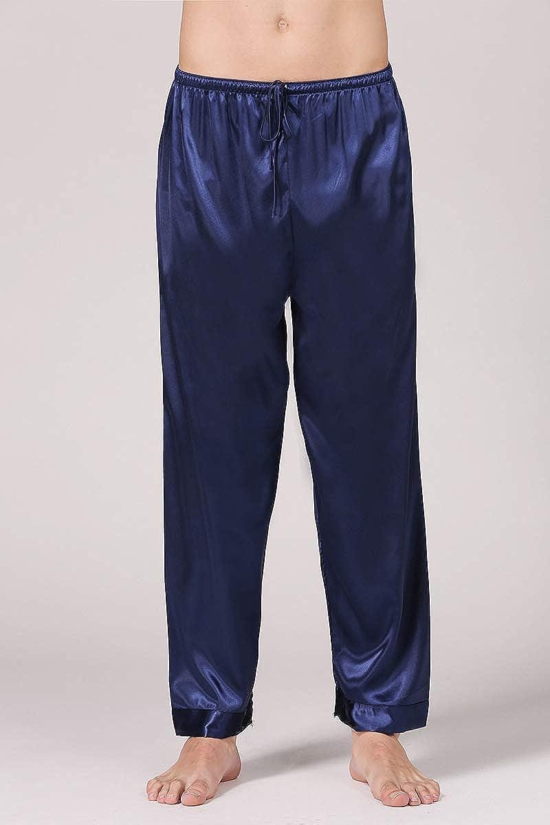 PIZZ ANNU Herren Casual Satin Pyjama Hose Kordelzug Verschluss Elastic Waist Pyjama Bottoms