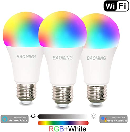 Smart Light Bulb,WiFi Bulb,Multicolored LED Bulbs,Dimamble,E26,Free APP Remote Controlled Home lamp,Compatible