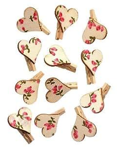 Craft for Occasions - Pinzas decorativas pequeñas (12 unidades), diseño de corazón con flores