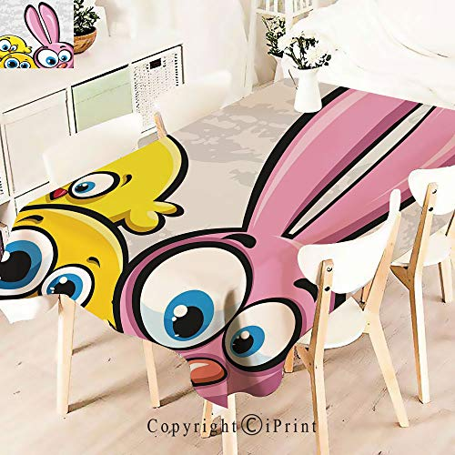 Modern Decor Tablecloth, Chickens Humor Childish Celebration Rabbit Animal,Graphic Fusion Artwork, Dining Room Kitchen Rectangular Table Cover,W55 xL71,Yellow Pink Dust
