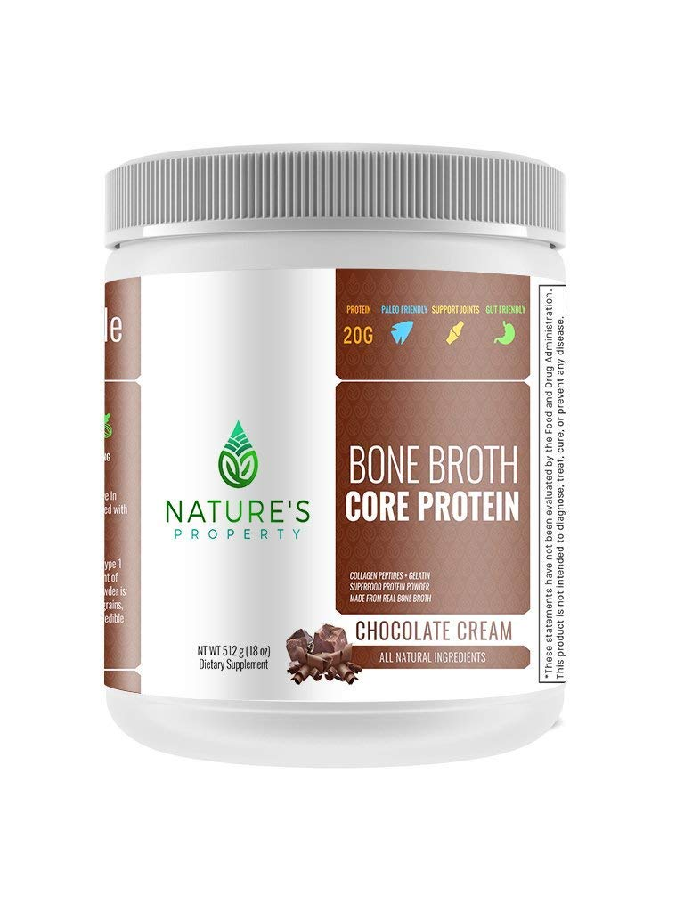Chocolate Bone Broth Protein Powder, Grass Fed Beef, 20 Servings (18oz), Vital Collagen Peptides + Gelatin, Gluten Dairy, Egg & Nut Free, Keto and Paleo Friendly by Nature's Property