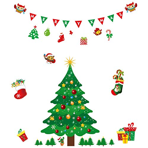 HONGKIDS Christmas Decal,Christmas Tree Stickers Window Clings PVC Wall Stickers for Windows Home Shop(Christmas Tree Stickers) (Christmas Tree) -
