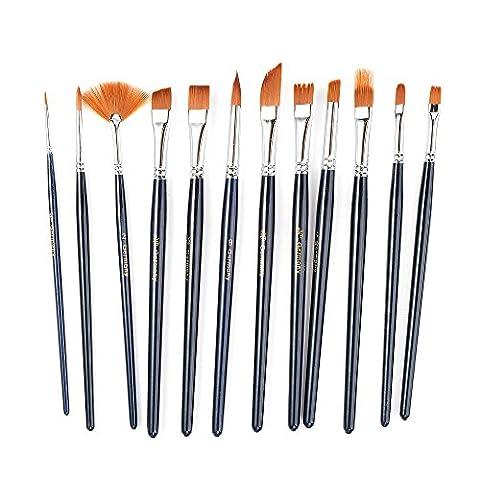 12 Pieces Art Paint Brush Short Handle Nylon Value Set for Oils, Acrylic, Gouache & Watercolor (Flat Top Paint Brush)