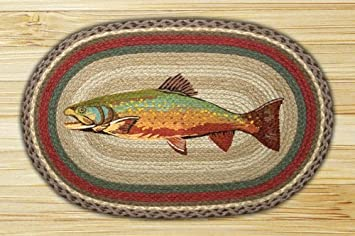 Earth Rugs OP 244 Trout Design Rug, 20 X 30u0026quot;, Burgundy/