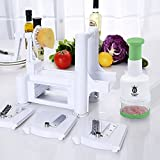 Culinary King Tri-Bade Vegetable and Fruit Spiral Slicer and Spiralizer with Free Bonus Tomato and Onion Dicer for Zucchini, Pasta, Spaghetti, and Vegetarian Cooking