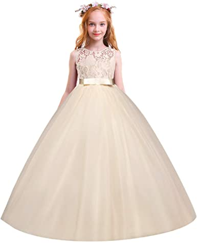UK Kid Flower Girl Lace Tulle Long Dress Wedding Bridesmaid Party Prom Ball Gown
