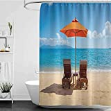 shower curtains longer than 72 inches Coastal Decor Collection,Two Chairs near Caribbean Sea under Colorful Umbrella Wedding Celebrations Picture,Orange Blue W72' x L72',shower curtain for clawfoot tu