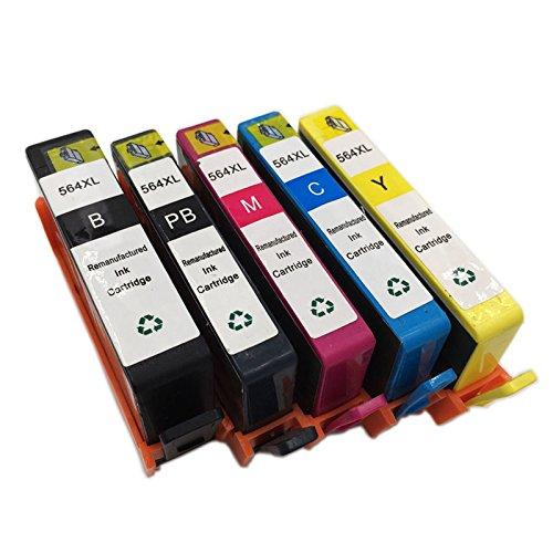 INKMATE 5 Pack ( BK / PB / M / C / Y ) Show Ink Level Remanufactured Ink Cartridge for 564 XL 564XL Photosmart 7510 7520 B8550 C6340 C6350 C6380 D5445 D7560 D5460 by INKMATE