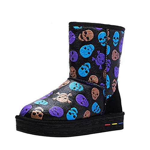 HOOH Women's Cow Leather Skull Snow Boots 5829 colorful V363qoe