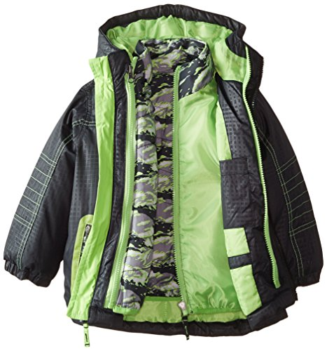 Jacket Coat Inner Quilted Boys' Bear with Systems Rugged Black qCfU6wU