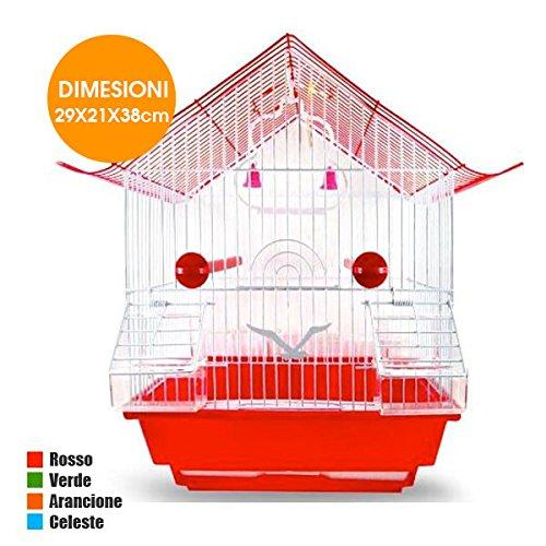 Jaula de metal con techo y accesorios para pájaros, canarios y ...