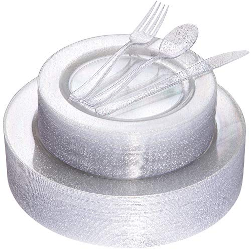 (180pcs Silver Glitter Plates with Disposable Plastic Silverware Service for 36 Guest, Includes 36 Dinner Plates 10.25